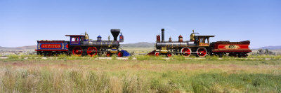 Steam Engine Jupiter and 119 on a Railroad Track, Golden Spike National Historic Site