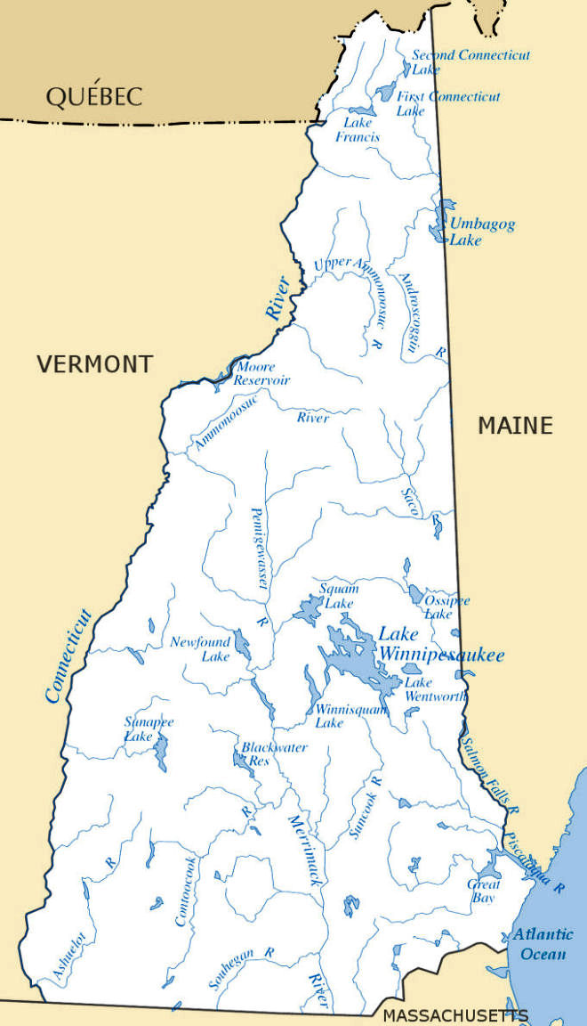 lakes in new hampshire map New Hampshire Rivers Lakes Map From Netstate Com lakes in new hampshire map